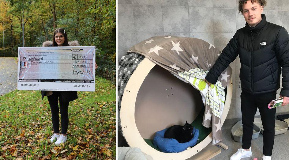Denise Mayer und Noah Schmitt vom Evonik-JuniorStore freuen sich über die Finanzspritze für das Tierheim Hanau. Fotos: Evonik Industries (links)/Tierheim Hanau (rechts)