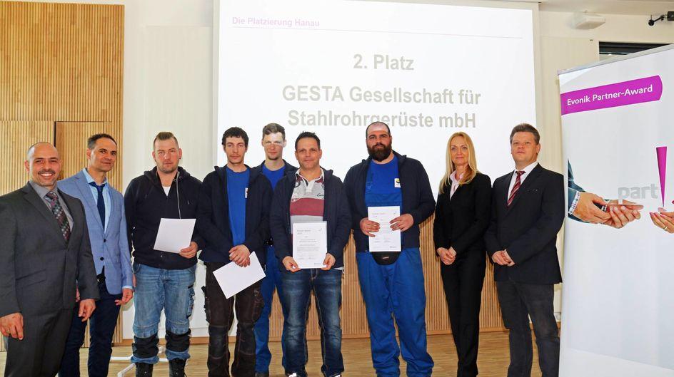 Für GESTA Gesellschaft für Stahlrohrgerüste gab´s den zweiten Platz.